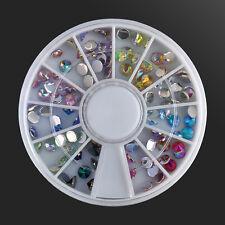 3D Nail Art Tips gems Crystal Glitter Rhinestone DIY Decoration Wheel W