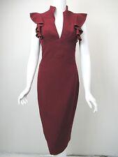 BLACK HALO Burgundy Stretch Gabardine Split Neck Ruffle Trim Midi Dress sz 4