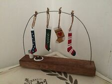 Hanging STOCKINGS with milk/cookies for Santa wooden scene christmas decoration