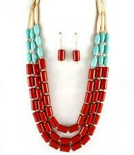 Three Layers Red Ivory Turquoise Lucite And Stone Bead Necklace Earring Set