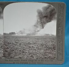 WW1 Stereoview French Village Set On Fire By Retreating Germans Realistic Travel