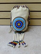 LARGE HAND CRAFTED STAR DES.CUT BEADED BUCKSKIN NATIVE AMERICAN INDIAN PURSE/BAG