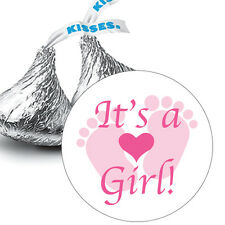 108 It's a Girl Pink Baby Footprints Baby Shower Favors Hershey Kiss Stickers