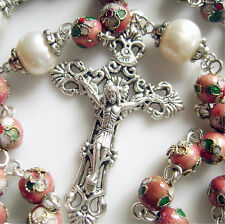 8mm Pink CLOISONNE + 10mm Pearl BEAD ROSARY CROSS NECKLACE CATHOLIC CRUCIFIX
