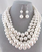 Chunky Layered White Pearl Necklace Set Silver Fashion Jewelry NEW