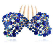 Luxury Sparkle Royal Dark Blue Bow Knot Wedding Hair Accessories Comb HA168