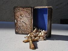 Rosenkranz u. Schatulle Art Deco Etui Maria mit Kind Schwebe Engel Kreuz