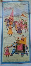 INDIAN ROYAL MAHARAJA BACK AFTER WINING THE BATTLE HANDMADE PAINTING ON SILKV