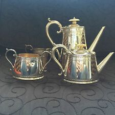 Antique Atkins Bros Tea Set Silver Plate 4 piece