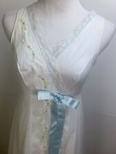 Vtg Long Night Gown Double Chiffon White Shadowline Bridal Lace Floral Stitch S