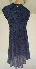 XS Silence + Noise Fishtail Shirt Dress hi-low Dip Hem Blue Cross Print and SA