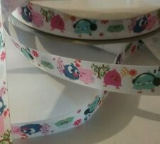 1m grosgrain ribbon 22 mm white with pink & blue love birds cake decoration