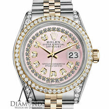 Ladies Rolex Steel and Gold 26 mm Datejust Watch Pink String Diamond Dial