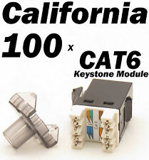 100 X Pcs Lot Keystone 8P8C CAT6 RJ45 Network RJ 45 Socket Punch Down Jack Black