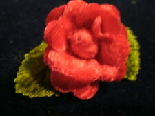 "Millinery Flower Red 1"" Doll Size Velvet Rose KQ5  for Hat Wedding or Hair"