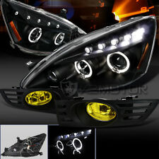 Fit 03-05 Accord 2Dr Coupe Black Projector Headlights+Yellow Fog Lights