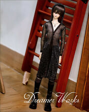 New 1/3 1/4 BJD SD LUTS DOD MSD Clothes Black Bling Hat Gauze Long Shirt/Outfit