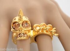 ALEXANDER McQUEEN PUNK SKULL CHAIN TWO FINGER RING IT 15 US 7.25 UK O 1/2 BNTW