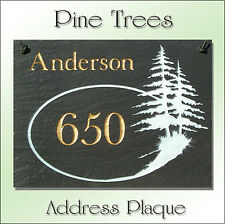 Natural Slate Personalized Pine Trees Plaque Address Marker Signs of All Kinds