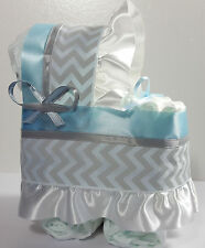 Diaper Cake Bassinet Carriage Baby Shower Gift Boys - Blue and Silver Chevron