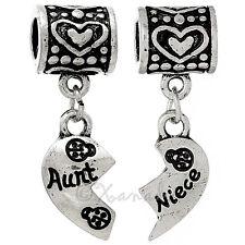 Aunt Niece Heart Halves European Charms Set For Large Hole Charm Bracelets
