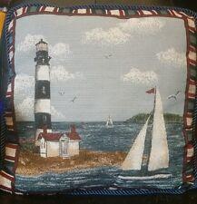 Lighthouse and Sailboat, Nautical. Decorative, Throw Pillow