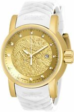 Invicta 19546 S1 Rally Gold Textured Dial White and Beige Silicone Mens Watch