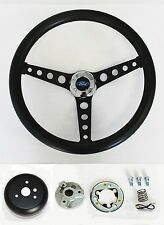 "Falcon Mustang w/ generator Black on Black Steering Wheel 14 1/2"" Ford Cap"