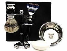 Sliver Tip Badger Hair Brush Gift Set Of 5 items includes Gillette Fusion Razor.