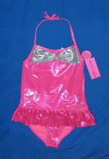 Betsey Johnson Girl's Swimwear S(7-8) Neon Pink UV Protection $15.-NWT Free/Ship