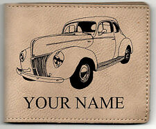 40 Ford Std Coupe Leather Billfold With Drawing and Your Name On It-Nice Quality