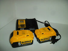 TWO DeWalt DCB205 20V MAX XR BATTERY PACKS & DCB115 FAST 4 AMP BATTERY CHARGER