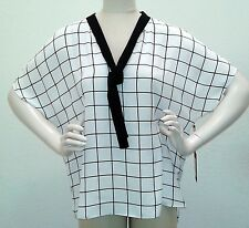 nwt Womens XL Vince Camuto Simple windowpanes Bow Neck blouse plaid white  nwt