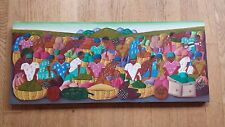 Fils Aime' Menes - Oil on Canvas - Folk-Art - Haitians Going to Market (24 x 10)