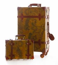 Vintage Retro Style Wheeled Trunk Luggage Two Part Set Antique World Map Print