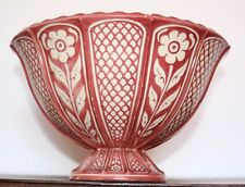 EARLY 18TH C. ANTIQUE HISPANO MORESQUE COPPER  LUSTRE RED/ WHITE PEDESTAL  BOWL