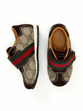 NIB NEW Gucci baby toddler boys girls beige GG monogram web sneakers 25 US 9
