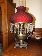 Antique 1800s Bradley & Hubbard Brass Oil Lamp Converted wRuby Quilt Glass Shade