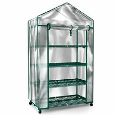 Plant Greenhouse on Wheels with Clear Cover - 4 Tiers Rack Stands- Indoor Out...