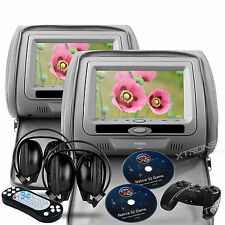 "XTRONS Gray HD705 2x 7"" LCD Car Headrest Monitor DVD Player Game Disc Headphones"