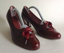 CLARKS Chestnut Leather Brown Bow Front 1930s Vintage Style Shoes UK 5.5 EU 39.5