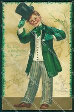 St Patrick Day Clapsaddle Relief CORNER CREASE postcard cartolina QT5902