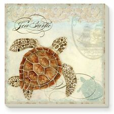 Counter Art  Sea Turtle Square Absorbent Coasters Cork Backing Set of 4