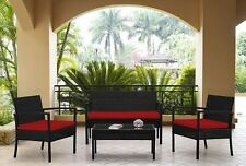 Premium Rattan Garden Furniture 4 Piece Sofa Set Red Cusions