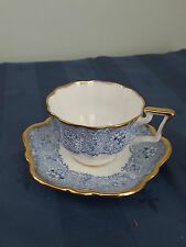 Salisbury Bone China Teacup & Saucer Blue  Flowers Gold Trim