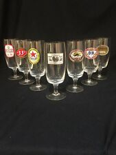 7 ANTIQUE  BREWERY BEER GLASSES (Japan, Korea, Bangkok) Amazing! Make An Offer!