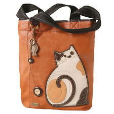 Everyday Lazy Cat Tote Bag Purse Calico Cat - Fish Charm/Key Chain Faux Leather