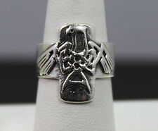 Sterling Silver Native Style Eagle Band Ring Size 7.75