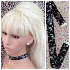 BLACK WHITE PAISLEY BANDANA PRINT COTTON FABRIC CHOKER NECKLACE 2cm METAL CHAIN