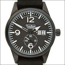 Techne 41mm Harrier Quartz Aviator Watch with Black Dial, Nylon Strap 388.123